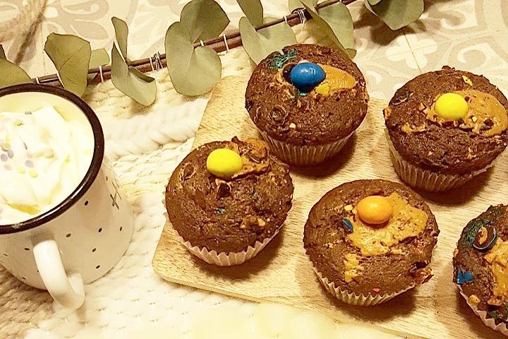 Mes Muffins M&M's Beurre de Cacahuète